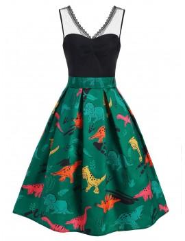 Dinosaur Print Lace Panel Vintage Dress - Medium Aquamarine 2xl