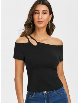 Asymmetrical One Shoulder T Shirt - Black 2xl