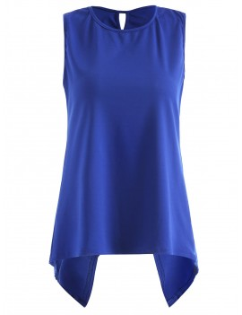 Asymmetric Overlap Sleeveless Top - Cobalt Blue S
