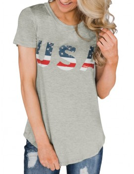 American Flag Short Sleeve Tunic Tee - Platinum M