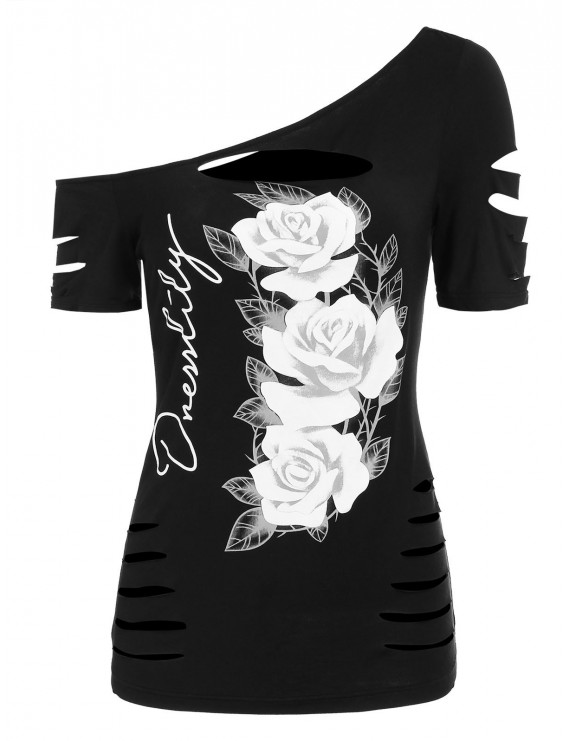 Floral Print Skew Neck T Shirt - Black L