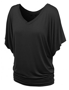 Batwing Sleeve V Neck Ruched T-shirt - Black M