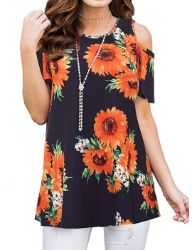 Sunflower Open Shoulder Tunic T-shirt - Black M
