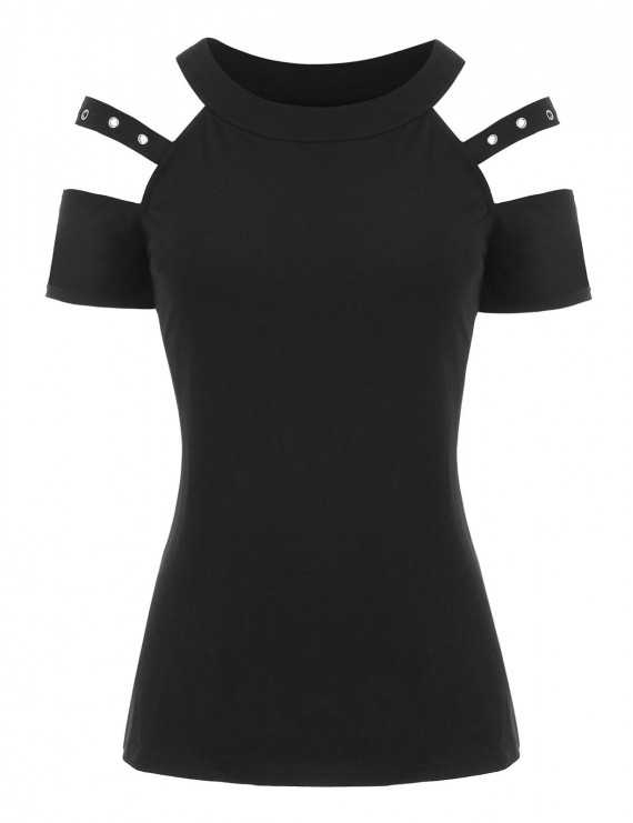 Open Shoulder Grommet T-shirt - Black S