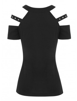 Open Shoulder Grommet T-shirt - Black S