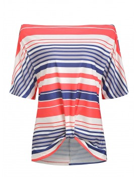 Batwing Sleeve Striped Twisted T-shirt - Multi-a L