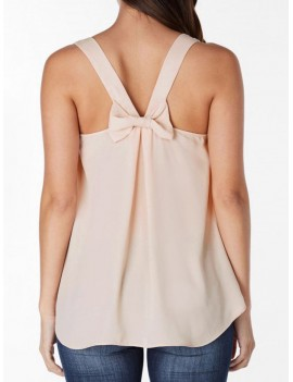 Bowknot Embellished Plain Tank Top - Deep Peach S