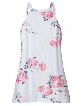 Asymmetrical Flower Print Casual Tank Top - White L