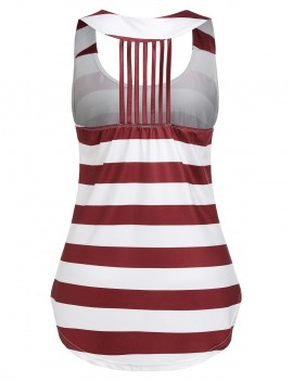 American Flag Print Tunic U Neck Tank Top - Red Wine M