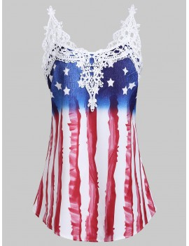 Applique Panel American Flag Tank Top - Blue M