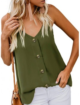 Buttons Cami Top - Army Green S