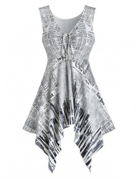 Asymmetric Newspaper Print Tunic Tank Top - White M