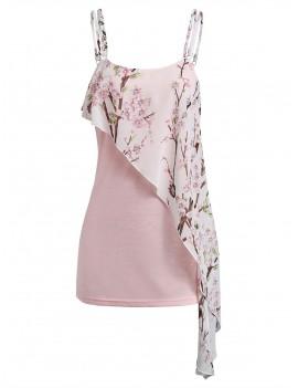 Cami Floral Print Tiered Tank Top - Pink Xl