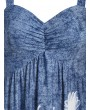 Floral Print Sweetheart Collar Flare Tank Top - Silk Blue 2xl