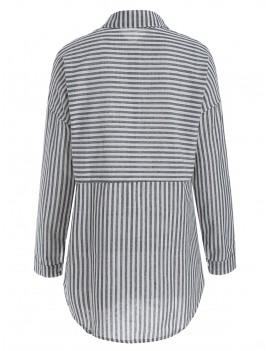 Button Up Striped Print Shirt - Gray S