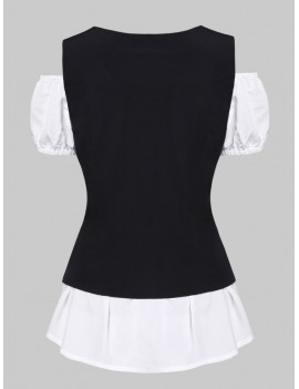 A Line Blouse and Lace-up Waistcoat Set - White M