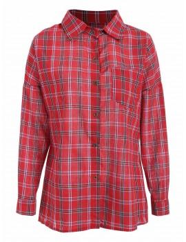 Chest Pocket Plaid Casual Shirt - Red Xl