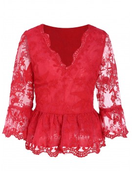 Plunging Neckline Bell Sleeve Peplum Blouse - Red M