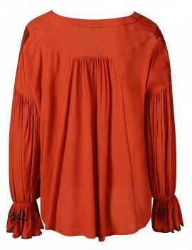 Ruched Sleeve V Cut Asymmetrical Blouse - Mahogany M