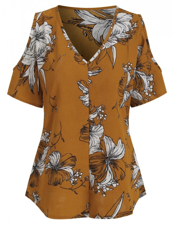 Textured Plant Print Cold Shoulder Blouse - Bee Yellow Xl
