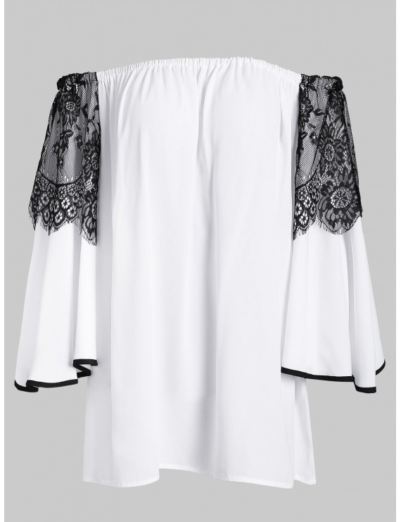Elastic Off The Shoulder Lace Panel Blouse - White S