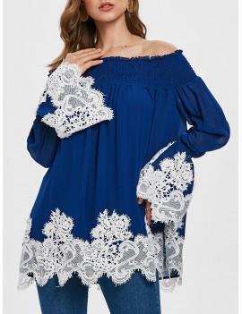 Contrast Lace Panel Off The Shoulder Blouse - Royal Blue M