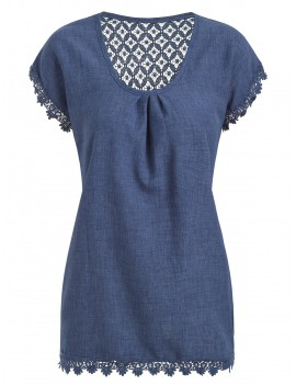 Crochet Panel Longline Blouse - Blue Koi L