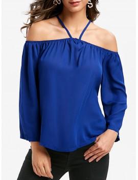 Cold Shoulder Plain Swing Blouse - Cobalt Blue L