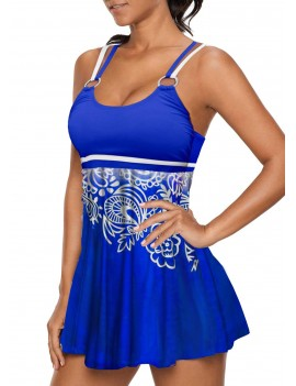 Criss Cross Back Printed Blue Tankini Set