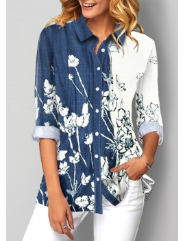 Button Up Floral Print Turndown Collar Blouse