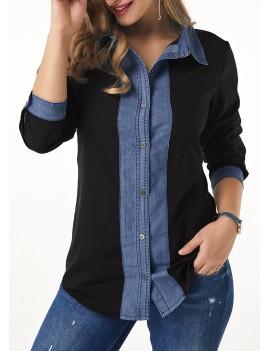 Turndown Collar Roll Tab Sleeve Button Up Shirt