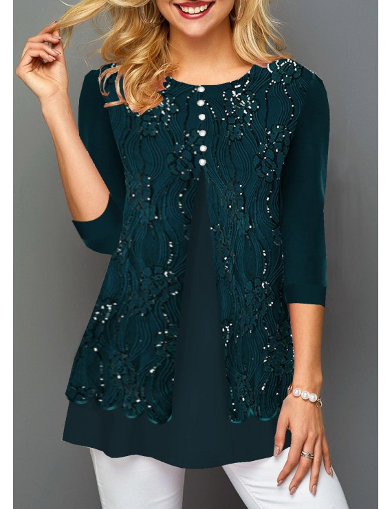 Dark Green Lace Patchwork Three Quarter Sleeve Blouse