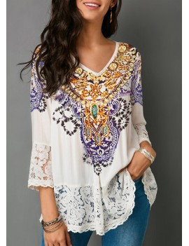 Three Quarter Sleeve Lace Patchwork White Blouse
