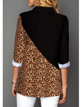 Button Up Leopard Print Contrast Panel Shirt
