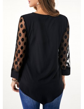 Asymmetric Hem Lace Panel Button Detail Blouse