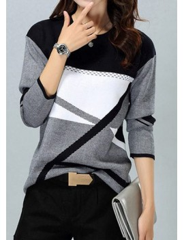 Round Neck Long Sleeve Stripe Pattern Sweater