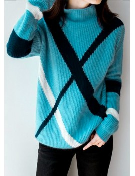 Stripe Pattern Blue Mock Neck Ribbed Sweater