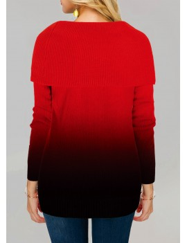 Red Gradient Pullover Long Sleeve Sweater