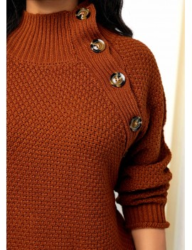 Button Detail High Neck Pullover Sweater