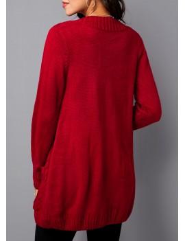 Button Up Pocket Detail Rib Knit Cardigan