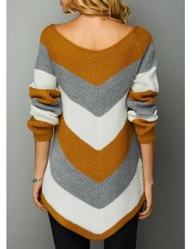 Chevron Pattern Asymmetric Hem Long Sleeve Sweater