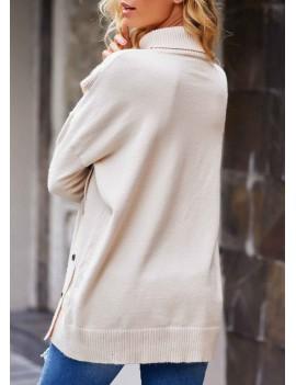 Turtleneck Button Detail Long Sleeve Sweater