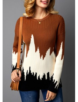 Color Block Rib Knit Pullover Sweater