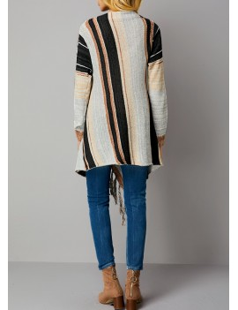 Stripe Pattern Long Sleeve One Button Cardigan