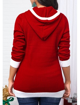 Sequin Embellished Hooded Collar Red Sweater