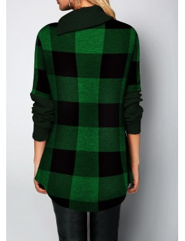 Plaid Pattern Button Detail Long Sleeve Sweater