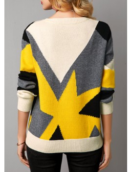 Color Block Long Sleeve Pullover Sweater