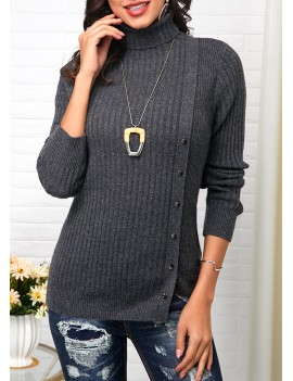 Button Decorated Turtleneck Long Sleeve Sweater