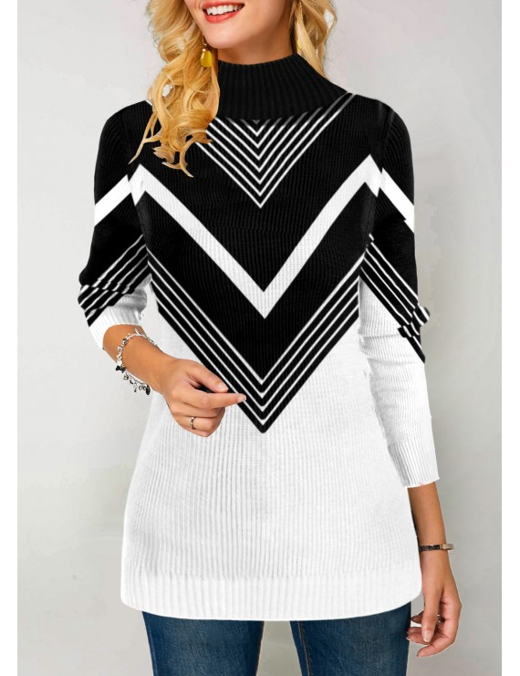 Chevron Pattern High Neck Pullover Sweater
