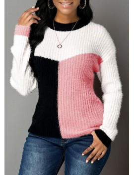 Pink Long Sleeve Round Neck Sweater